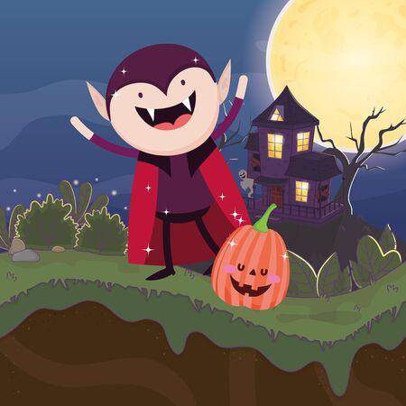 dracula costume pumpkin moon halloween image vector illustration