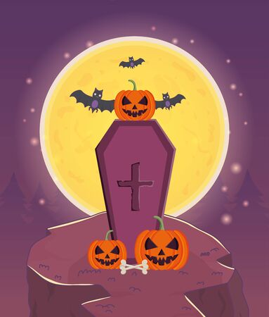 coffin with pumpkins and bats trick or treat - happy halloween vector illustration