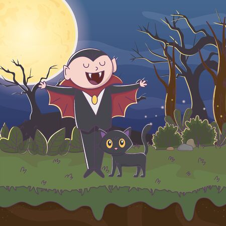 dracula with black cat trick or treat - happy halloween vector illustration