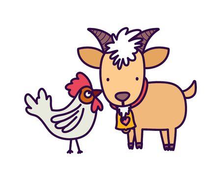 goat and rooster farm animal cartoon vector illustration Vecteurs