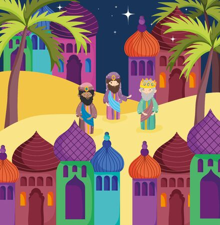 wise men town palm trees manger nativity vector illustration