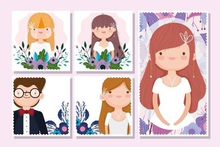 wedding groom and bride flower celebration postcards Иллюстрация