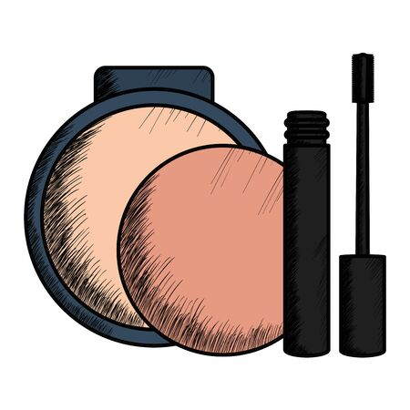 eyelash and blush makeup drawing vector illustration design