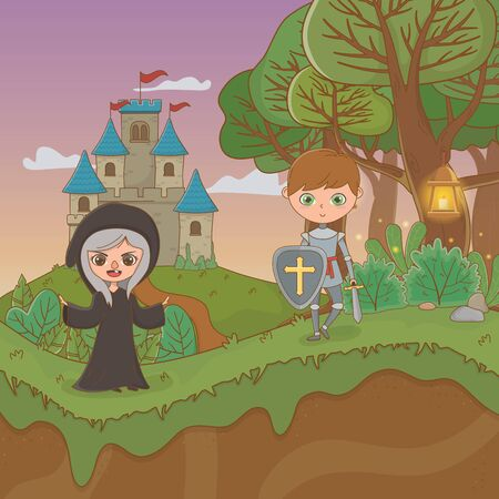 fairy tale landscape scene with witch and warrior Ilustracja