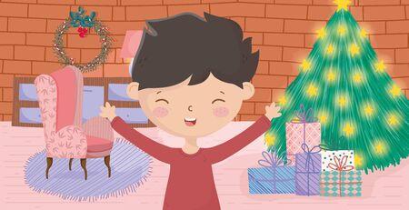 boy living room tree sofa gifts wall brick merry christmas celebration