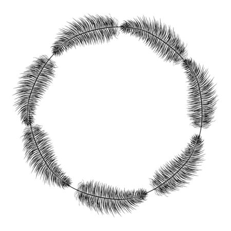 circular bohemian frame with feathers