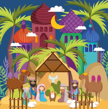 manger sacred family wise men camels hut star palms nativity Stock Illustratie