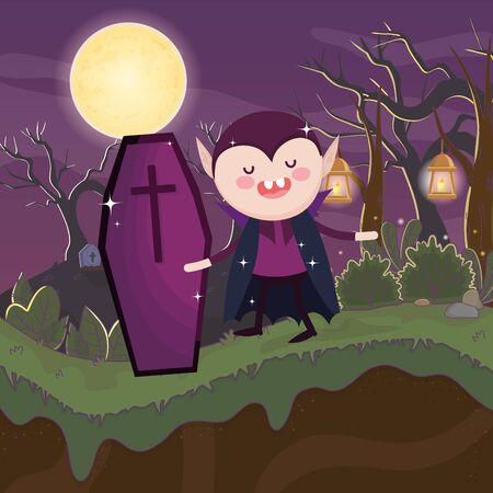 dracula with coffin night costume halloween image vector illustration