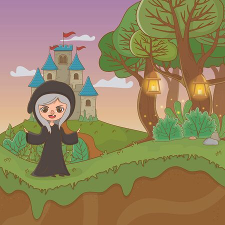 fairytale landscape scene with witch illustration