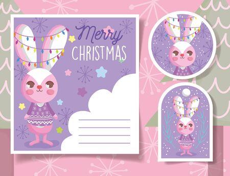 cute rabbit happy christmas tags