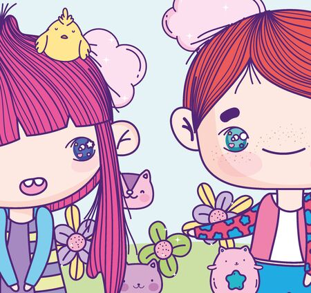 anime boy and girl with cute animals flowers