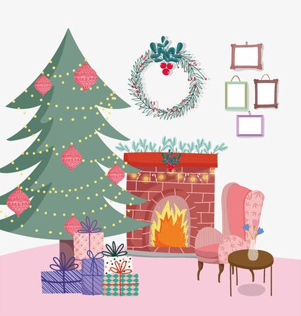 christmas tree to home decorative chimney wreath chair and gifts Иллюстрация