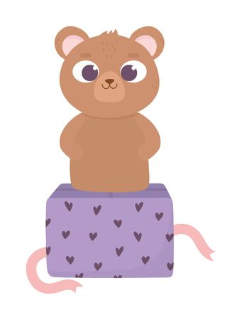 happy valentines day, cute bear on gift box hearts love decoration