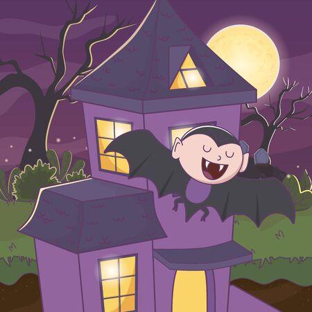 flying dracula trick or treat - happy halloween vector illustration