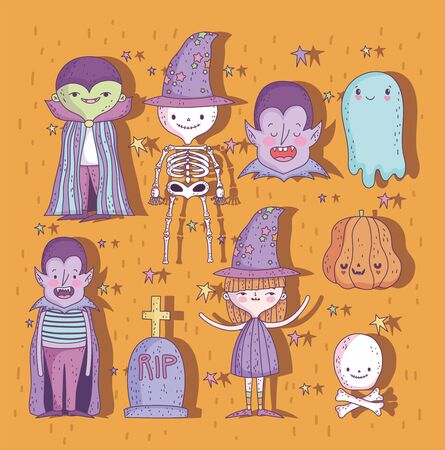 set of characters and things trick or treat happy halloween Иллюстрация