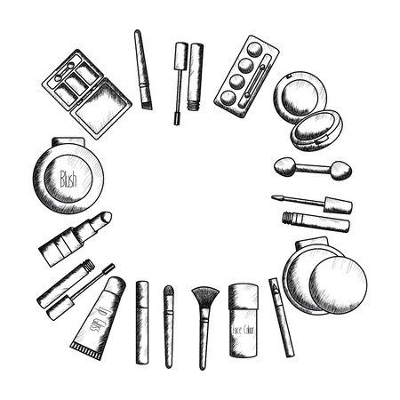 set of make up accessories drawing vector illustration design 일러스트