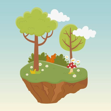 landscape trees flowers greenery vegetation nature foliage background