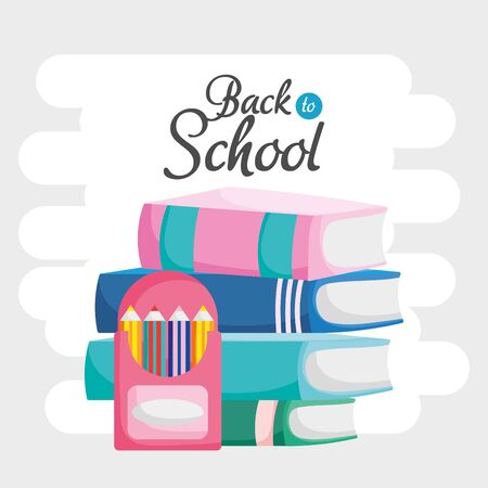 back to school education stacked books colored pencils in box