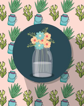 mason jar flowers label decoration jars and cactus background vector illustration