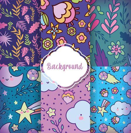 background decoration flower kawaii design pattern textile flat vector illustration Vetores