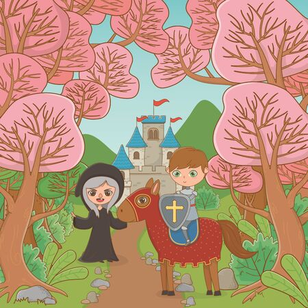 Witch horse and knight of fairytale design Illustration