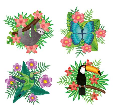set of beautiful animals with tropical floral decorations vector illustration design Vecteurs
