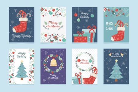 conjunto de cartel decoración celebración feliz navidad