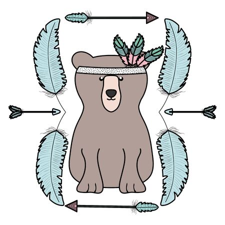 bear grizzly with feathers hat and arrows frame