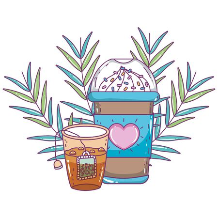 Iced coffee mug and tea design, Drink breakfast beverage bakery restaurant and shop theme Vector illustration 矢量图像