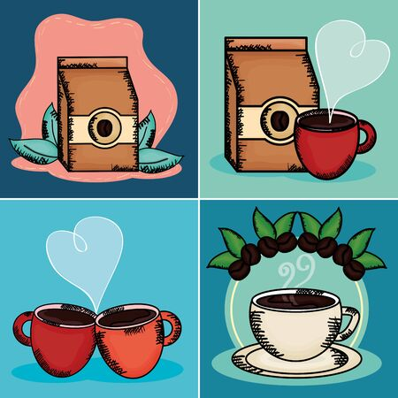 coffee time set icons