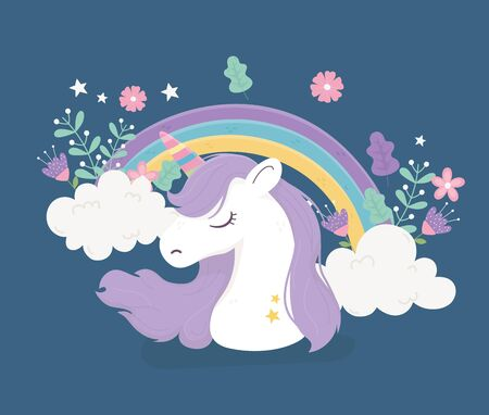 unicorn rainbow clouds flowers fantasy magic cute cartoon vector illustration