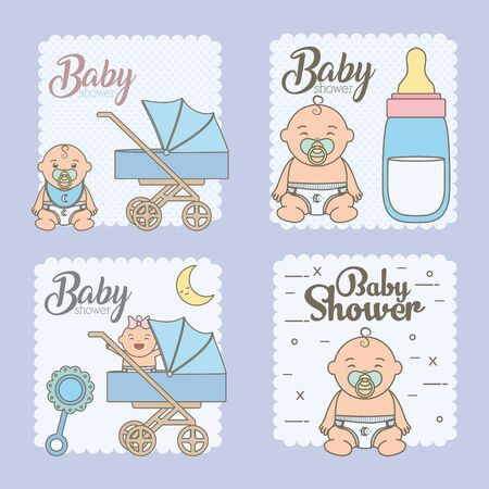set baby shower cards with cute little babies vector illustration design