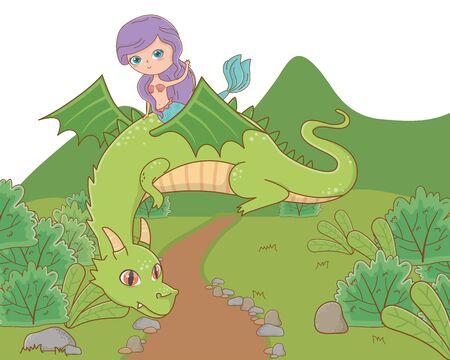 Mermaid and dragon of fairytale design vector illustration