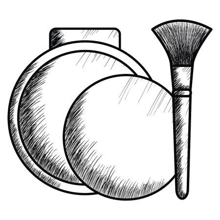blush and brush make up drawing icon