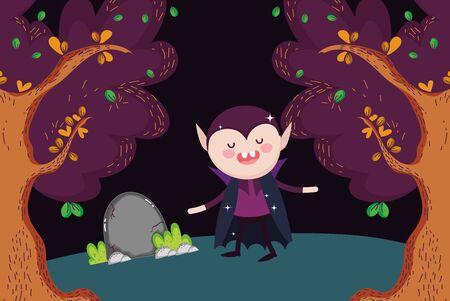 dracula walking in the forest halloween Ilustração
