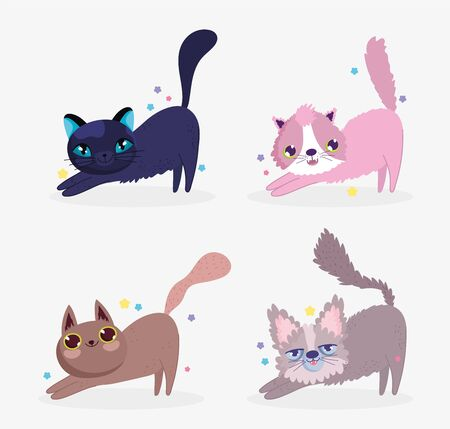 cute cats stretching itself domestic cartoon animal, collection pets