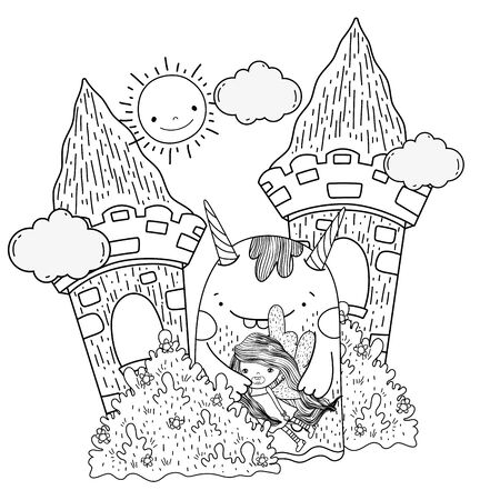 little fairy with monster in the castle vector illustration design Ilustração