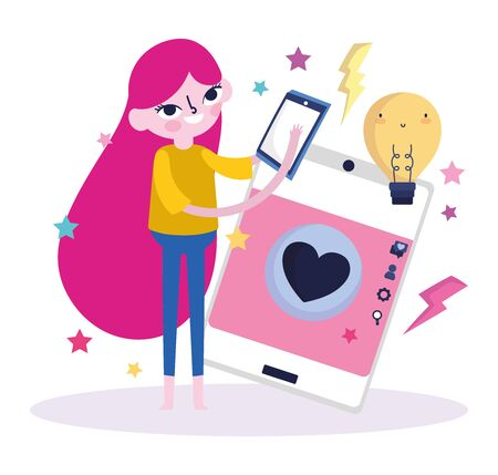 young woman screen touch mobile chat love social media vector illustration