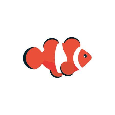 marine life, clown fish cartoon sea fauna animal on white background