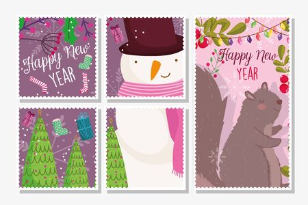 happy new year snowman and squirrel trees gifts socks foliage