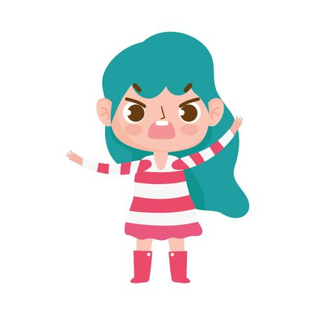 little girl with striped dress expression facial vector illustration Illustration