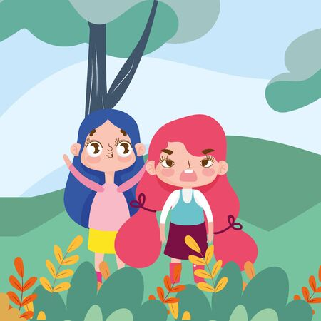 little girls cartoon character facial expression landscape nature background vector illustration