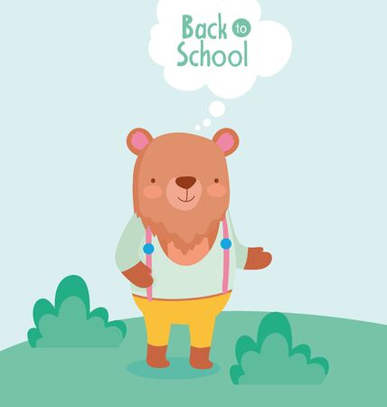 back to school education cute bear with clothes in the grass vector illustration