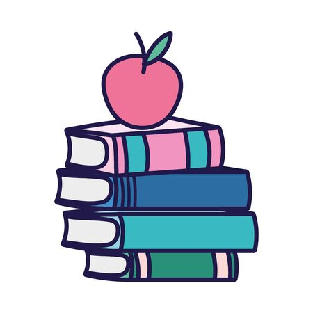 back to school education apple on stacked books vector illustration 일러스트