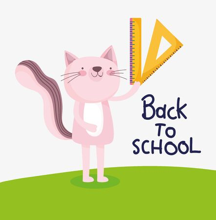 back to school education cute cat with ruler supply vector illustration Ilustracja