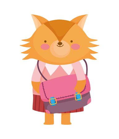 back to school education cute fox with clothes and schoolbag vector illustration