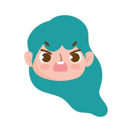 cute face girl with green hair and expression facial vector illustration Illustration