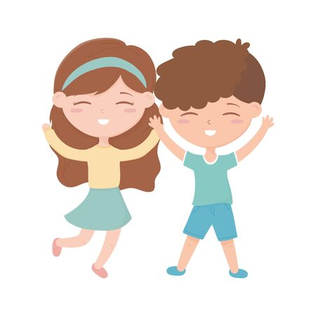 happy childrens day, little boy and girl celebration excited cartoon vector illustration