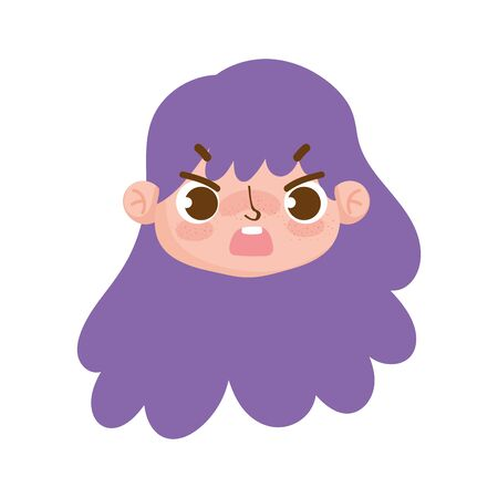 cute face girl expression curly purple hair vector illustration
