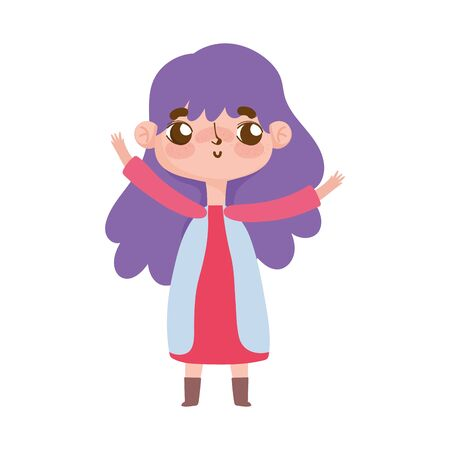 little girl with purple hair and gesture facial vector illustration